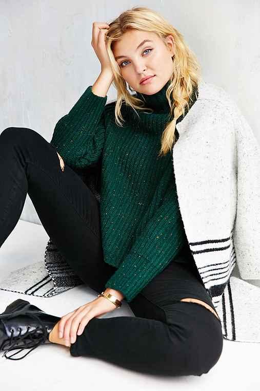 Silence + Noise Abigail Turtleneck Sweater,GREEN,XS