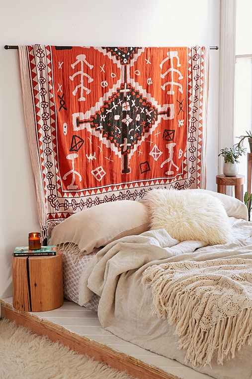 Assembly Home Geo Boucherouite Tapestry,ORANGE,ONE SIZE