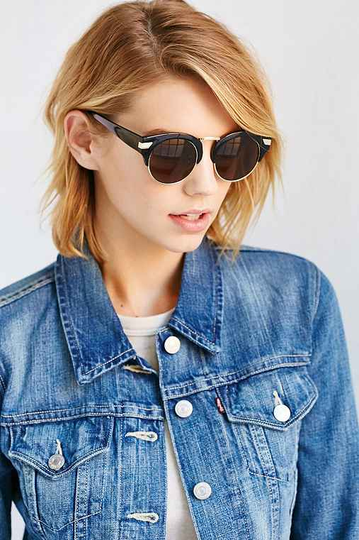 Alexa Cat-Eye Sunglasses,BLACK,ONE SIZE