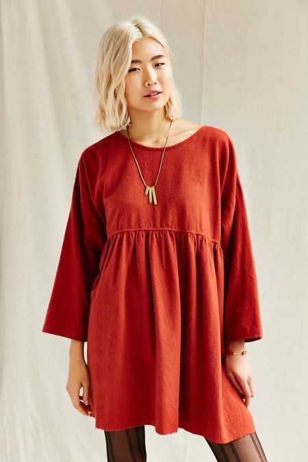 Urban Renewal Recycled Ruffle Flannel Tunic Dress
