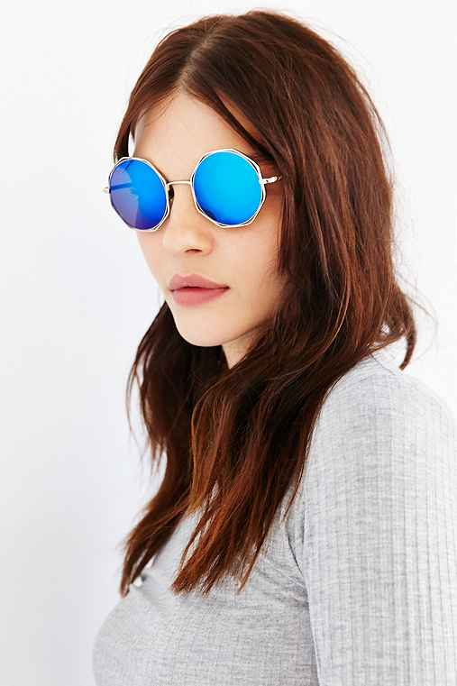 Geo Vacation Round Sunglasses,SILVER,ONE SIZE