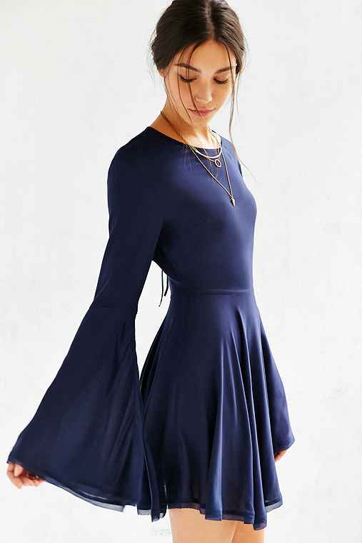 Ecote Sascha Bell Sleeve Dress,NAVY,0