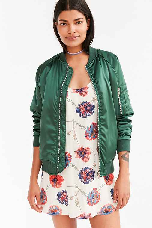 UNIF For UO Satin Bomber Jacket,GREEN,XS