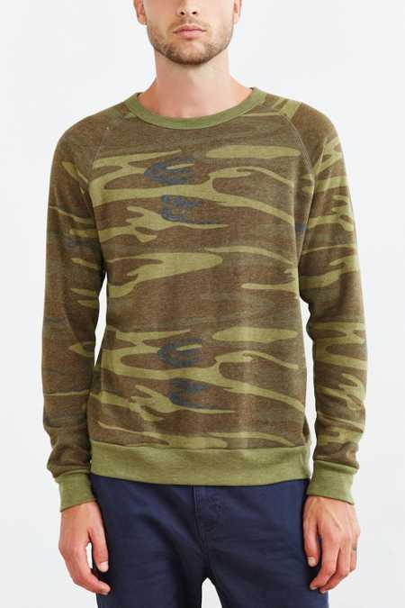ALTERNATIVE Camo Fleece Crew Neck Sweatshirt