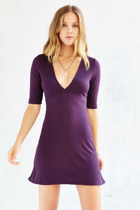 Silence + Noise Rib-Knit Deep-V Dress