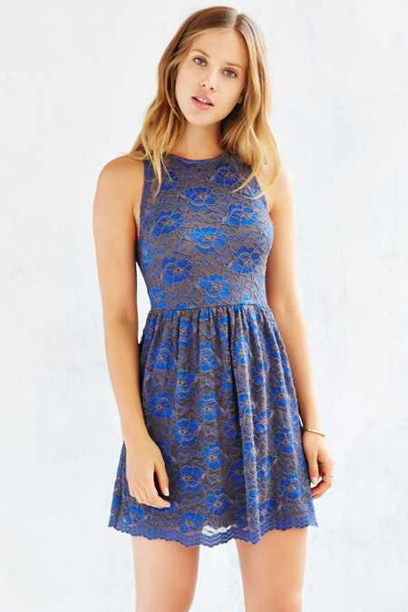Kimchi Blue Two-Tone Lace Skater Dress