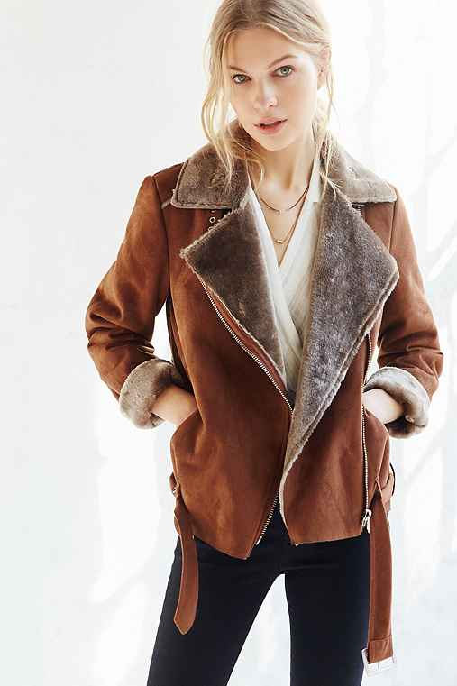 Silence + Noise Faux Shearling Aviator Jacket,BROWN,M