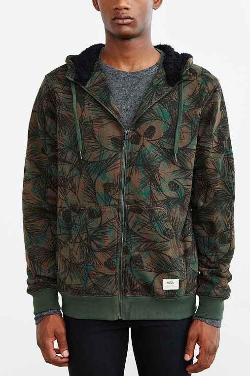 Vans Flinten Zip-Up Hoodie Sweatshirt,OLIVE,S