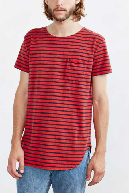 Feathers Striped Long Scoop Neck Tee