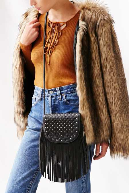 Ecote Studded Fringe Saddle Bag