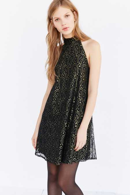 Ecote Paisley Lace Mock-Neck Dress