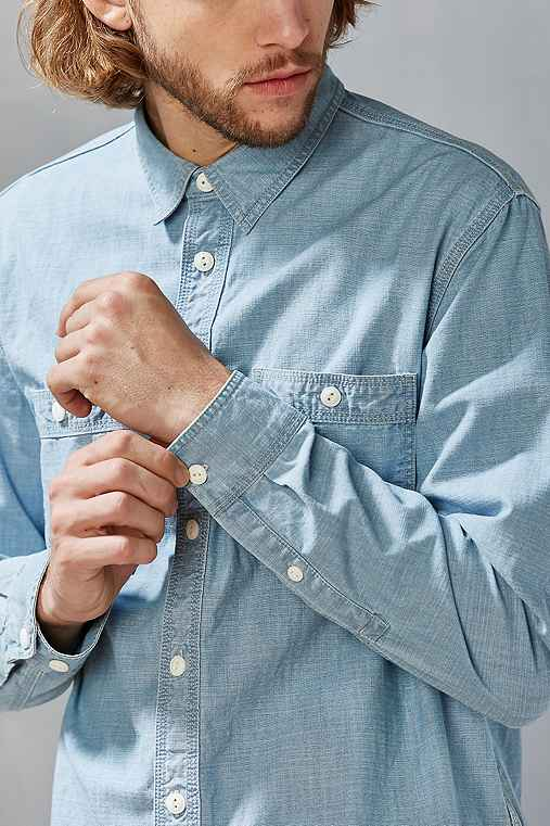 CPO Crosshatch Chambray Button-Down Shirt,LIGHT BLUE,S