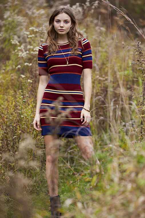 BDG Variegated Stripe Sweater Dress,RED MULTI,S
