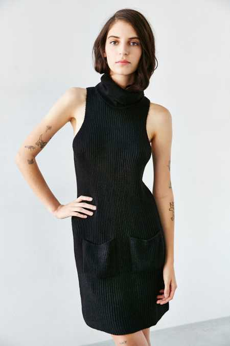Silence + Noise Cowl-Neck Sweater Midi Dress