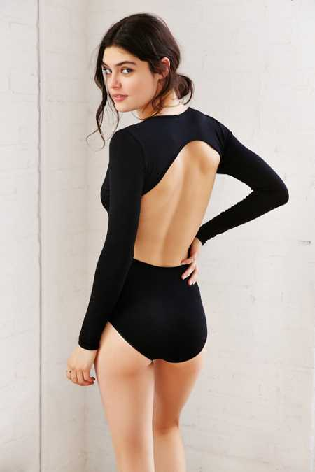 Out From Under Deep-V Open-Back Bodysuit