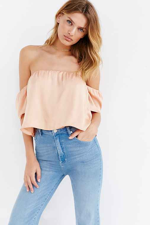 Lucca Couture Silky Off-The-Shoulder Blouse,ORANGE,M