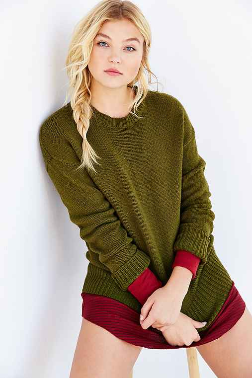 BDG Boyfriend Sweater,GREEN,M