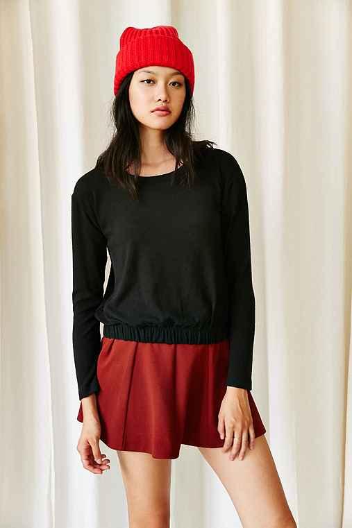 Hiatus Gigi Gathered Hem Sweater,BLACK,L