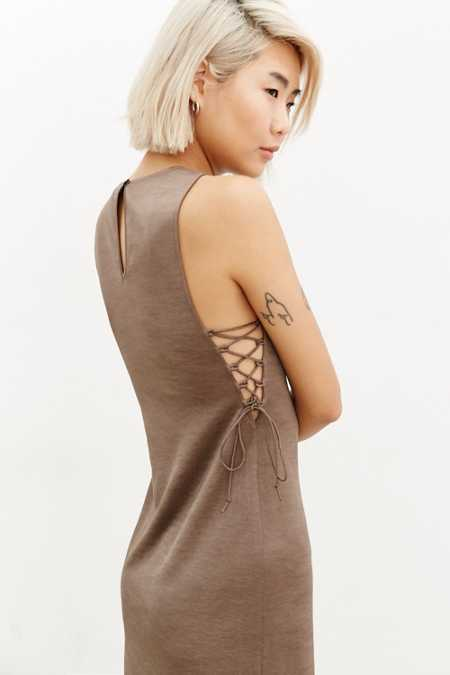 Silence + Noise Satin Lace-Up Midi Dress