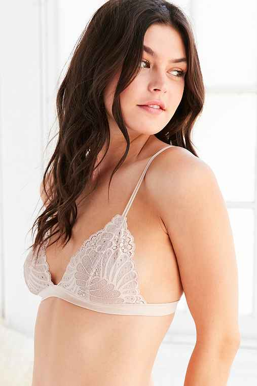Out From Under Lace Triangle Bralette,NUDE,S