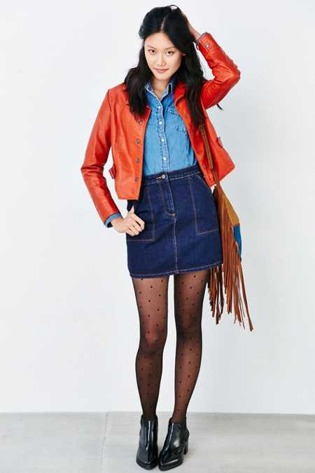 BDG Stitched Pocket Denim Skirt