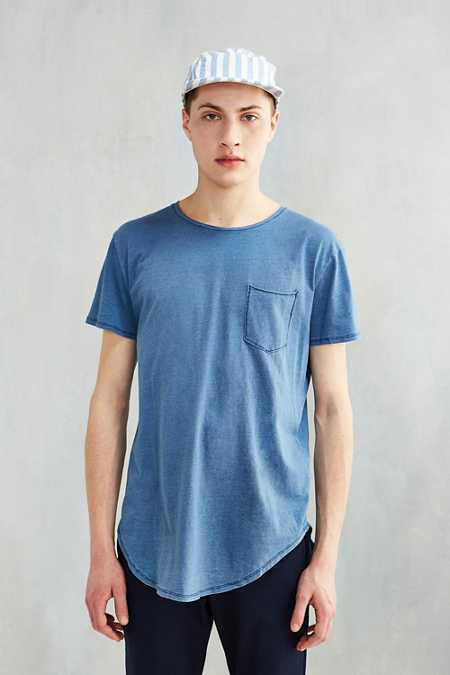 Feathers Indigo Curved Hem Tee