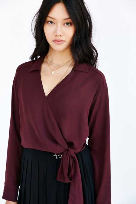 Lucca Couture Surplice Side-Tie Blouse