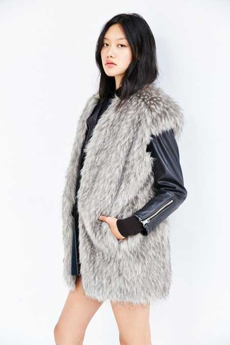 Members Only Cap Sleeve Faux Fur Vest