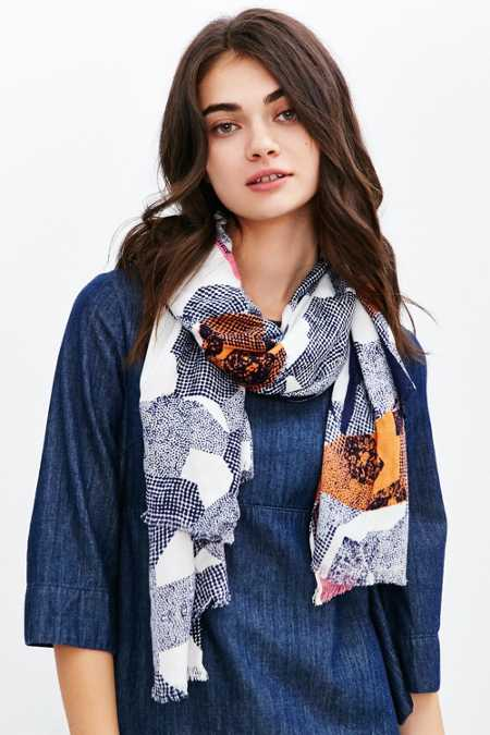 Abstract Landscape Print Blanket Scarf
