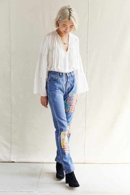 Urban Renewal Remade Kantha Patched Jean