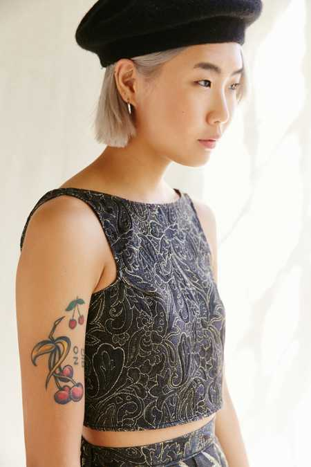 Urban Renewal Remade Brocade Tie-Back Top