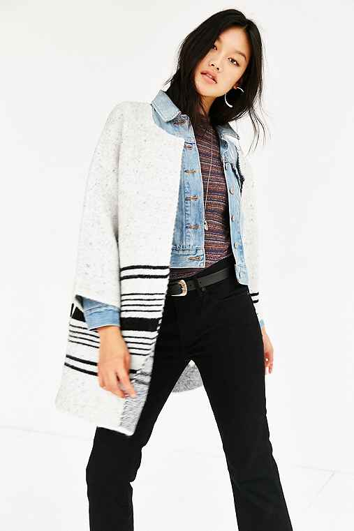 Native Youth Jacquard Knit Coat,BLACK & WHITE,XS