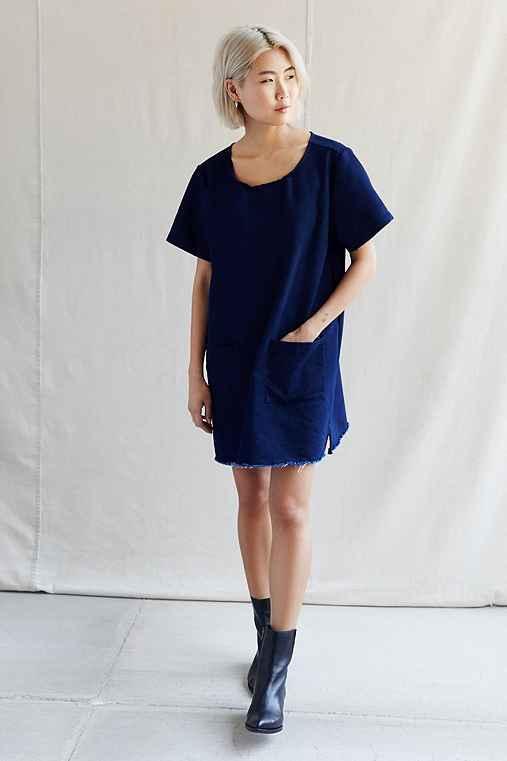 Urban Renewal Recycled Patch Pocket Denim Dress,BLUE,S