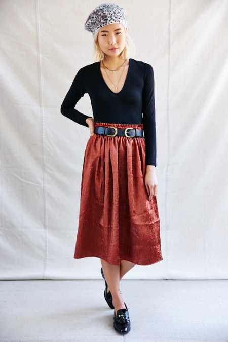 Urban Renewal Remade Raw Top Satin Midi Skirt