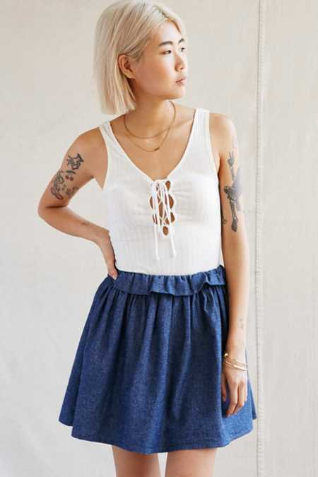 Urban Renewal Recycled Chambray Mini Skirt
