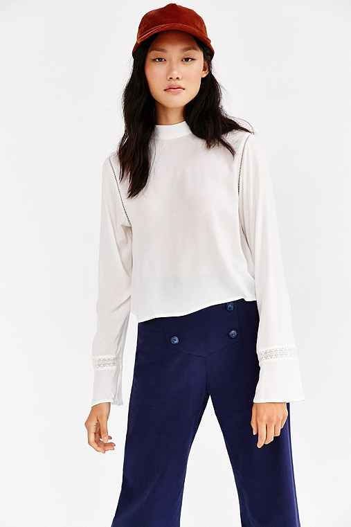 Silence + Noise Modern Mock-Neck Blouse,CREAM,M