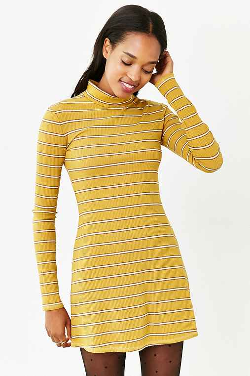 BDG Kaylyn Ribbed Turtleneck Dress,YELLOW,XS