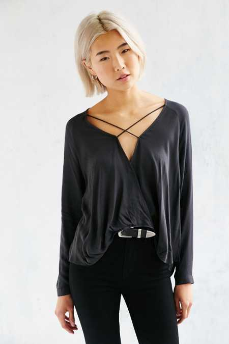 Silence + Noise Mayfair Plunge Surplice Top