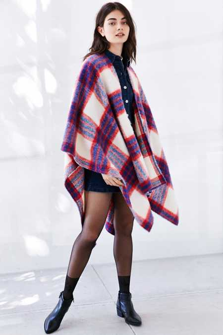Brushed Plaid Open Poncho