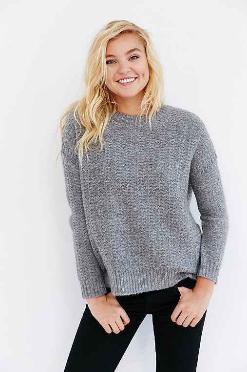 BDG Warm Me Up Pullover Sweater,GREY,XS