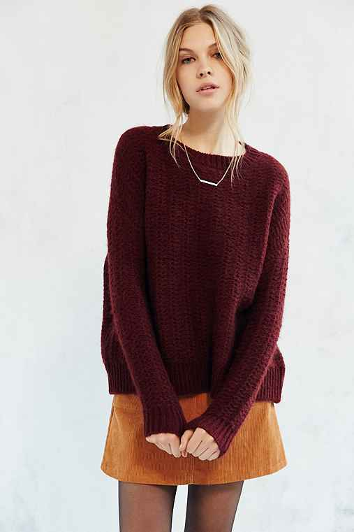 BDG Warm Me Up Pullover Sweater,MAROON,XS
