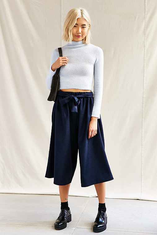 Urban Renewal Recycled Tie Front Culotte Pant,NAVY,S