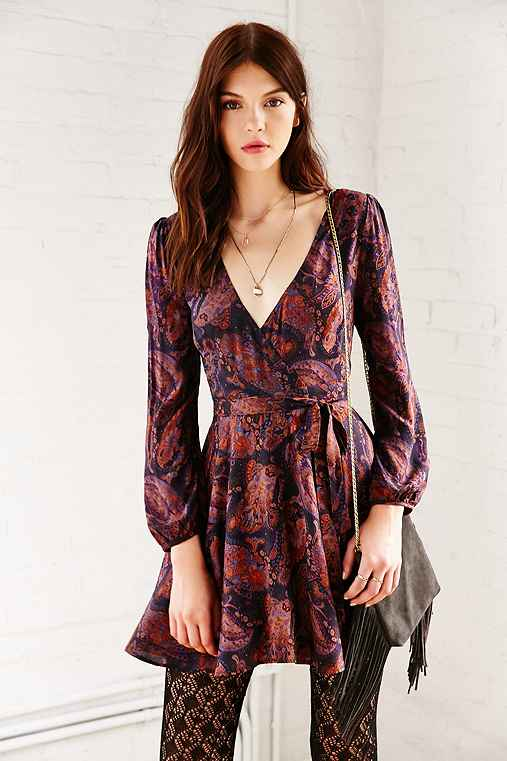 Ecote Ruby Mini Wrap Dress,PURPLE MULTI,M
