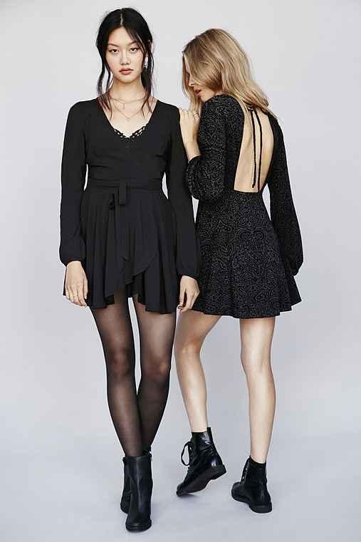 Ecote Ruby Mini Wrap Dress,BLACK,S