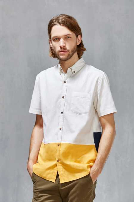 Vanishing Elephant '90s Colorblock Button-Down Shirt