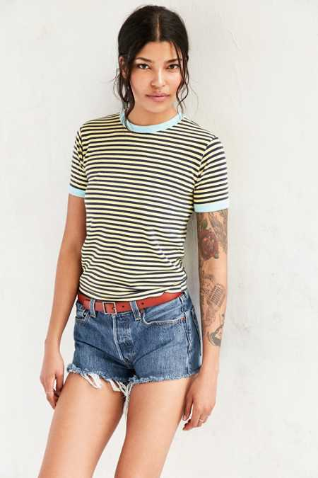 Truly Madly Deeply Jewel Striped Ringer Tee