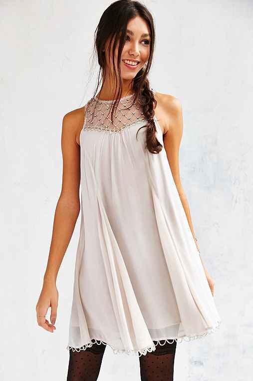 Kimchi Blue Glynda Beaded Trapeze Dress,LIGHT GREY,M