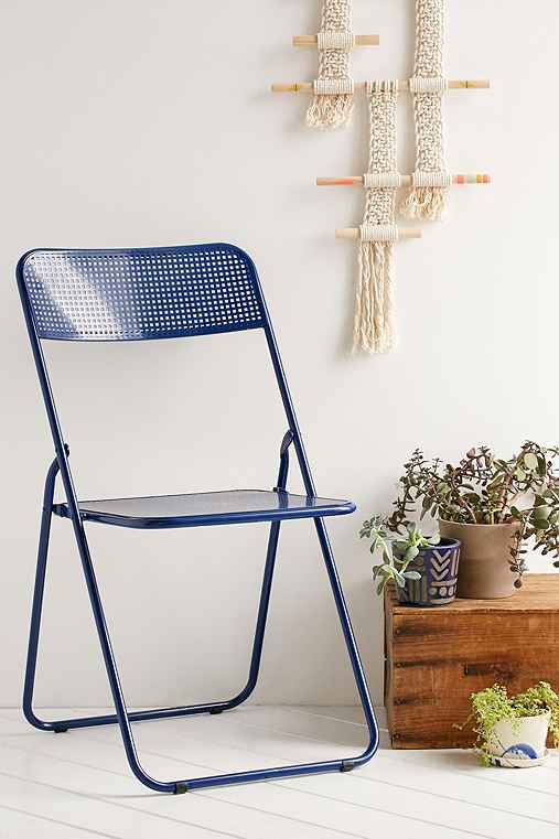 Folding Metal Chair,BLUE,ONE SIZE
