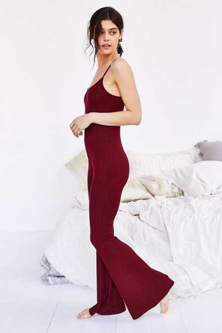 Out From Under Ribbed Flare Jumpsuit