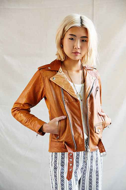 PeleCheCoco Leather Biker Jacket,BROWN,M